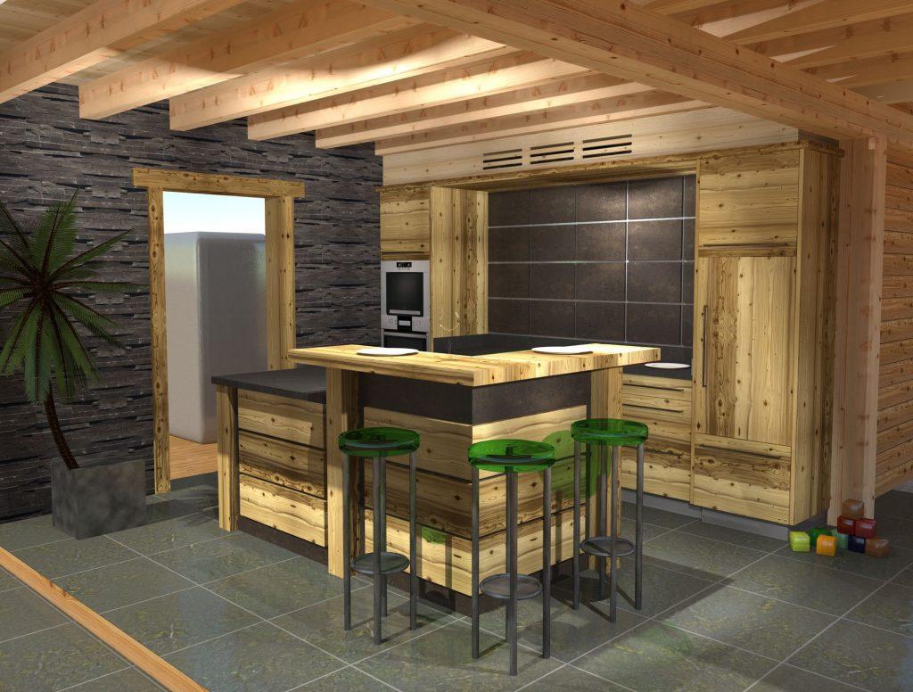 Dessin realiste de cuisine en vieux bois