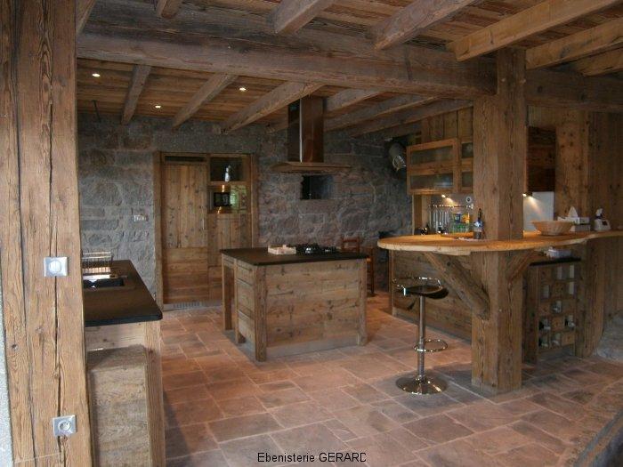 Cuisine Bois Et Pierre Table Cuisine Bois Massif Tourcoing Table